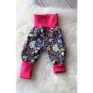 Baby Pumphose Schlupfhose newborn Gr. 56-68 Paisley Blumen blau pink