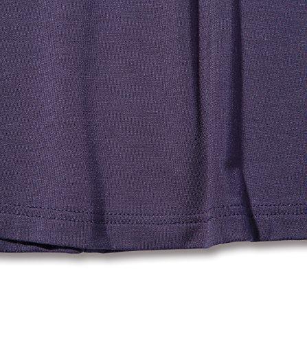 Lapasa Blusa Donna con Collo Svasato Maniche Corte Viola scuro