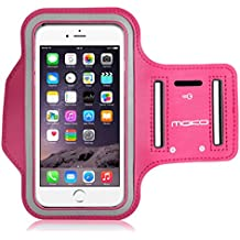 MoKo Sports Armband for iPhone 6s Plus / iPhone 6 Plus, Samsung Galaxy Note 5 / S6 edge+, Droid Turbo and LG G4 / G3, Card Slot, Sweat-proof, Magenta(Size L, Compatible with Cellphones up to 5.7 Inch)