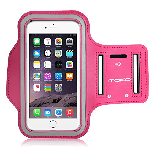 MoKo iPhone 6S Plus Armband - Sweatproof Joggen Laufen Sport Armband Handy Hülle Schutzhülle Case + Schlüsselhalter Kopfhörer Anschluss für Apple iPhone 6 Plus / 6S Plus 5.5