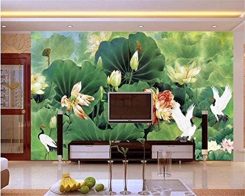 Personalizzato murale non tessuto carta da parati di loto televisione soggiorno sala da pranzo divano camera da letto corridoio sfondo verde carta da parati murale