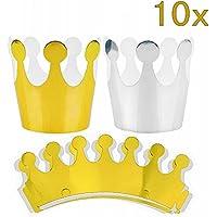 JZK® 10 x corona de papel sombrero de papel princesa de los niños príncipe corona fiesta favores accesorios para decoración de fiestas para festivales de cumpleaños de party booth (5 x Dorado, 5 x Plata)