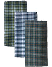 BlueDenim PureCotton Lungis for Men, 2 meter Set of 3 (Multi Colour)||Assorted Checks or Colors