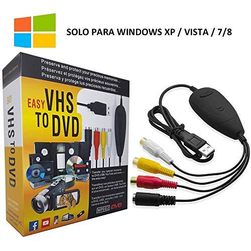 COOLEAD USB 2.0 VHS a DVD Convertidor de Video Tarjeta de Captura de Audio Adaptador de Video Transferir TV DVR VCR CCTV Hi8 Videocámara a PC Soporte Windows Xp/2000/Vista/7/8, Mac OS (Negro)