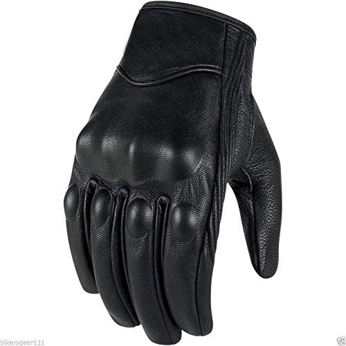 Short Black Leather Harley Style Cruiser Gloves Thermal