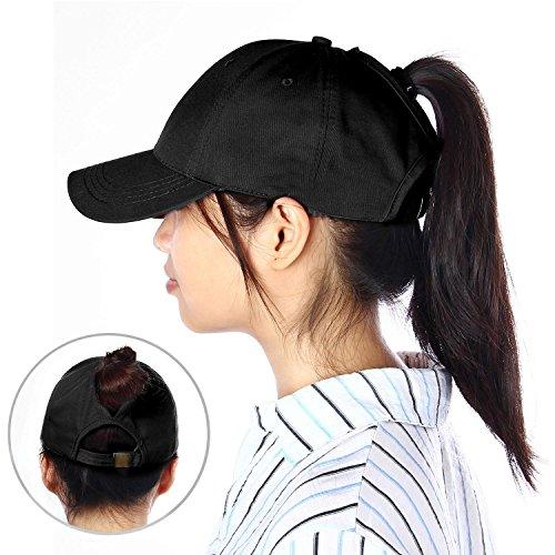 KOBWA Pferdeschwanz Baseballkappe, Einstellbar Baumwolle Klassisch Sport Hut, Chaotisch Hohe Brötchen Ponycap Sommer Sun Cap für Frauen/Männer