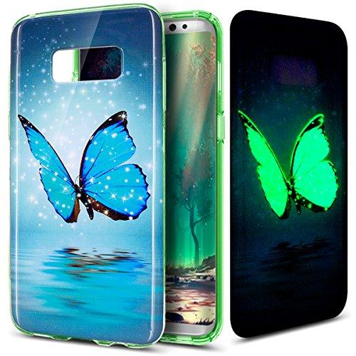 Preisvergleich Produktbild Galaxy S8 Plus Hülle,Galaxy S8 Plus Schutzhülle,Galaxy S8 Plus Silikon Hülle,ikasus® TPU Silikon Schutzhülle Case Hülle für Galaxy S8 Plus,Leuchtend Bunte Kunst Gemalt Muster Handyhülle Galaxy S8 Plus Silikon Hülle [Leuchtend Luminous] Stoßdämpfend Transparent TPU Silikon Schutz Handy Hülle Case Tasche Silikon Crystal Case Durchsichtig Schutzhülle Etui Bumper für Samsung Galaxy S8 Plus - Blau Schmetterling