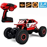 [Sponsored]Rock Crawler 1:18 Scale Remote Control Monster Off Road Truck 4*4 Dirt Drift High Speed Vehicle (red)