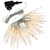 Smartfox 40er LED Lichterkette Eiszapfen für Innen und Außen mit transparentem Kabel in warmweiß Länge 5,5m + 5m Zuleitung