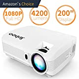 """Jinhoo 3600Lumens Projector Native 720P 1280×720 1080P Support 200"""" Display Compatible with HDMI"""