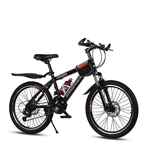Bicicleta de montaña de Doble suspensión para Hombres 20 Pulgadas 22 Pulgadas Transmisión Shimano 21 Velocidad Freno de Disco Doble Disco Ligero Estudiante Niño Ciudad del Viajero Bicicleta,Red,22in