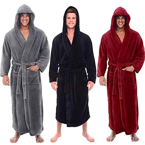 b03a87fc6a13 Geilisungren Femme Homme Unisexe Peignoir Long Polaire Couple Pyjama Kimono  Robe de Chambre Manche Longue Bathrobe Nightgown Vêtements de Nuit pour  Hotal ...