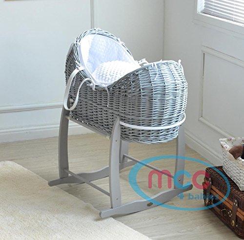 Cesta de mimbre Moisés de MCC, conjunto completo con soporte de balancín de color gris, con reductor de cuna y textil 100% algodón de color blanco