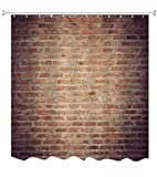 A.Monamour Grunge Getragen Rot Ziegel Beton Wand Abstraktes Bild Drucken Antibakterielle Polyester Stoff Duschvorhang Für Bad Dekoration Zubehör 180X180 cm / 72X72 Zoll
