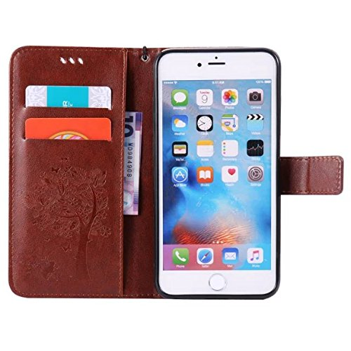 JIALUN-Telefon Fall Mit Kartensteckplatz, Lanyard, Druck Schöne Muster Mode Open Handy Shell Für IPhone 6s Plus ( Color : Blue ) Coffee