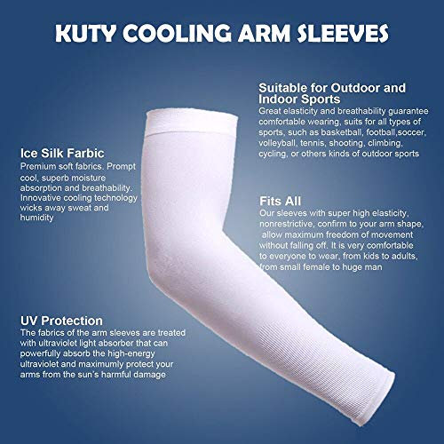 Amber Cooling Sport Arm Sleeves, Perfectly fit Fingers and Prevent Harm from Sport and Outdoor Activities ((White, Common))