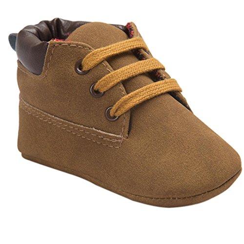 FNKDOR Baby Mädchen Jungen Lauflernschuhe Rutschfest Weiche Schuhe für Neugeborene 0-18 Monate (0-6 Monate, Braun)