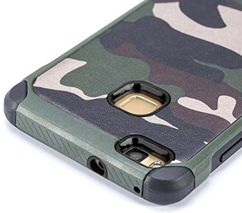 Huawei P9 Lite Hülle,huawei P9 lite Camo Hülle Defender Shockproof Drop proof High Impact Rüstung Plastic und Leder TPU Hybrid Rugged Camouflage HandyHülle Schutz Cover Hülle für Huawei P9 Lite – Grun Grun 2