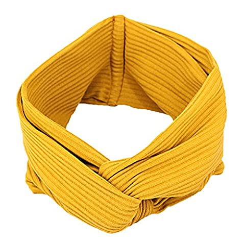 Butterme Women Turban Twisted Elastic Headband Knot Head Wrap Knotted Soft Hair Band (Yellow)