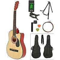 ts-ideen Western - Guitarra acústica, tamaño regular (4/4) con set de accesorios (bolso, cuerdas, afinador, soporte etc.), color natural y rojo