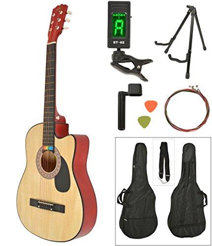 Akustik Western-Gitarre Westerngitarre Natur Gitarrentasche LCD Stimmgerät Gitarrenständer Zubehör