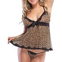 Cinnamou Lencería Mujer, Ropa Interior Vestidos de Dormir Mujer Sexy EroticaTalla Grande Estampado de leopardo