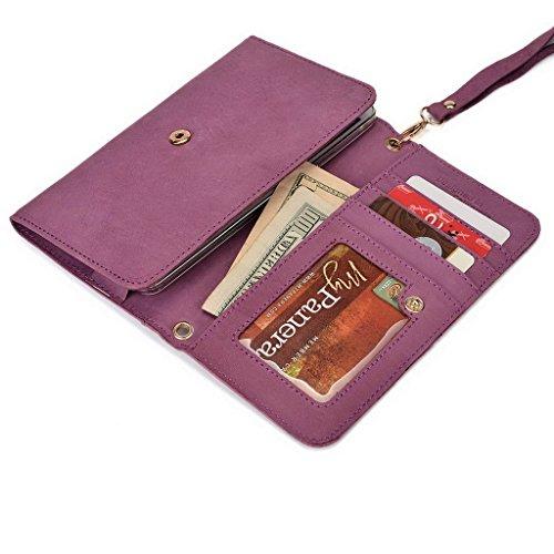 Kroo Pochette en cuir véritable pour téléphone portable pour Vivo–Platinum Edition marron violet