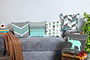 BRICK HOME Grey Teal Multicolor Printed Canvas Cotton Cushion Cover, 24X24 Inches, Set of 5
