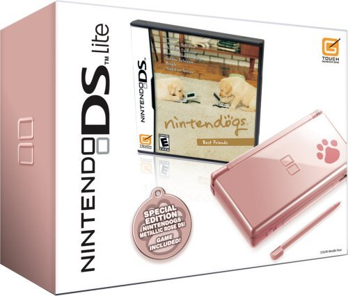 Nintendo DS Lite Metallic Rose with Nintendogs Best Friends (NDS Pink Bundle) by Nintendo