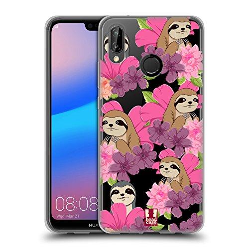 Head Case Designs Faultier Blumen Und Tiermuster Soft Gel Hülle für Huawei P20 Lite