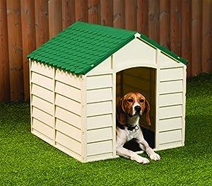 Plastic Dog Kennel Pet Shelter Plastic Durable Outdoor - Color Beige Green