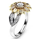 VJGOAL Damen Ring, Damen Exquisite Zwei Ton Silber Blumen Ring Runde Diamant Gold Sonnenblume Schmuck Frau Geschenk (6, Gelb)