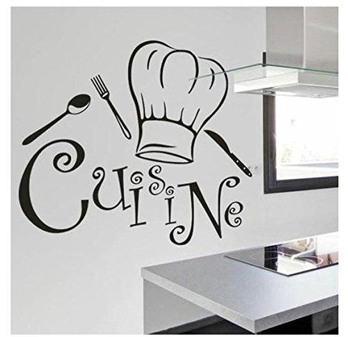 Adesivi Murali Frasi Scritte'cuisine' Adesivi da Parete Cucina Amovibile Decorazione per Muri 80 * 70cm