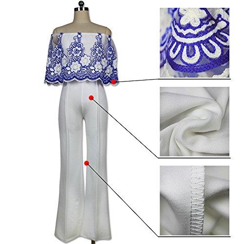 Elegant Damen Jumpsuit IHRKleid® Spitze Lang Hosen Overall Party Abendmode Blau #