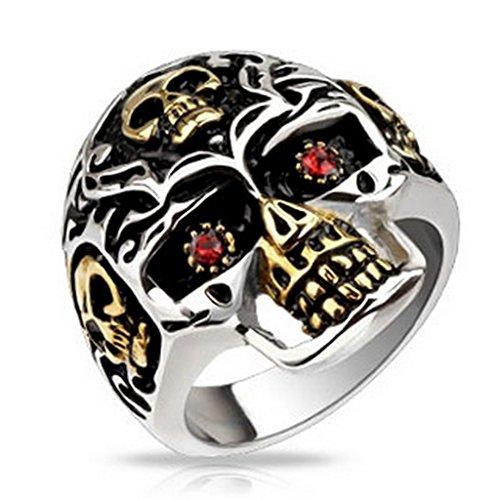 Edelstahl Gold IP Skull Accent with Red CZ Eyes Skull Cast ring - RINGE 36pc Pack (6pcs x 6 sizes, ring - RINGE Size 09~14) (14 X Cast)