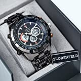 Globenfeld-Super-Sport-Metal-Wrist-Watch-with-3-Function-AnalogDigital-Display-Stopwatch-and-Tachymeter-Water-Resistant-up-to-30-Meters-Black