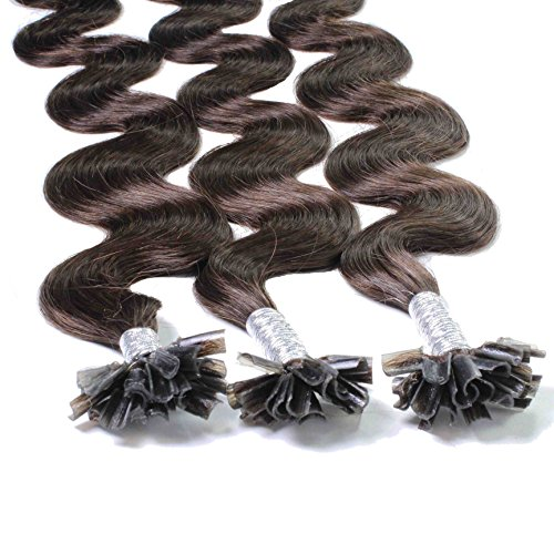 Just Beautiful Hair 50 x 1 g REMY Echthaar Bonding Extensions, gewellt - 60cm - #2 dunkelbraun (Human Hair Extensions Gewellt)