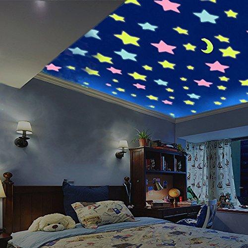MultiWare 100 Stück Leuchtsterne Selbstklebend Bund Sterne Aufkleber  Leuchtend 3D Wandtattoo Sterne Leuchten Kinderzimmer Schlafzimmer