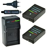 ChiliPower EN-EL14, EN-EL14a Kit; 2x Batterie (1100mAh) + Chargeur pour Nikon Coolpix P7000, P7100, P7700, P7800, DSLR D3100, D3200, D5100, D5200, D5300, Nikon Df