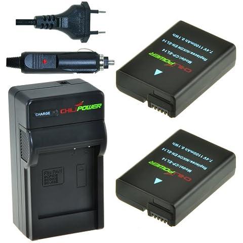 2x Batería + Cargador ChiliPower Nikon EN-EL14, EN-EL14a 1250mAh para Nikon Coolpix P7000, P7100, P7700, P7800, DSLR D3100, D3200, D5100, D5200, D5300, Nikon
