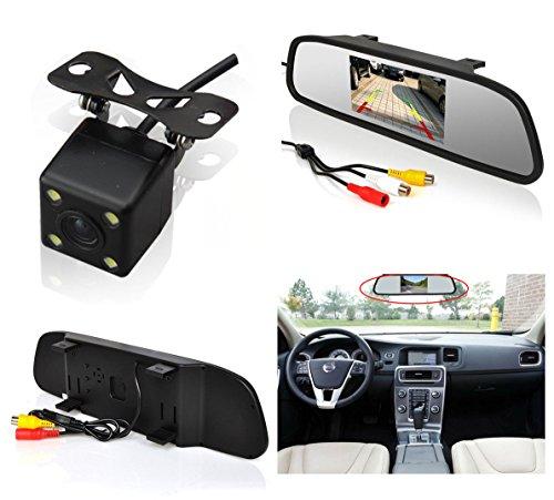 Auto Rover - Sistema de visión trasera para aparcamiento para coche, monitor TFT LCD, espejo retrovisor de 4,3pulgadas e infrarrojos de visión trasera, seguridad de marcha atrás, cámara HD de visión trasera