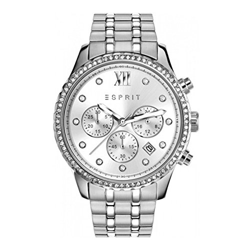 Esprit ES108732001 Chronograph Uhr Damenuhr Edelstahl 5 Bar Analog Chrono Datum silber