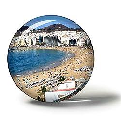 Hqiyaols Souvenir Spanien Strand Von Las Canteras Las Palmas Magnete Kühlschrankmagnete Andenken Sammlerstücke Reise Geschenk Kreis Kristall 1.9 inches