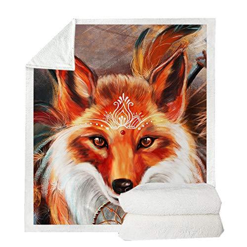 Sherpa Decke Flanelldecke 3D Galaxy Traumfänger Wolf Tier gedruckt Decke Navy Fleece Tagesdecke Plüschdecke für Erwachsener Kinder Sofa und Bett,Eine Vielzahl von Stilen zur Auswahl (G,150 x 200 cm)