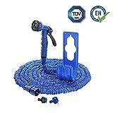 Flexibler Gartenschlauch blau 35m mit Schlauchhalter Wasserschlauch Magic Hose dehnbarer Zauberschlauch (35m)