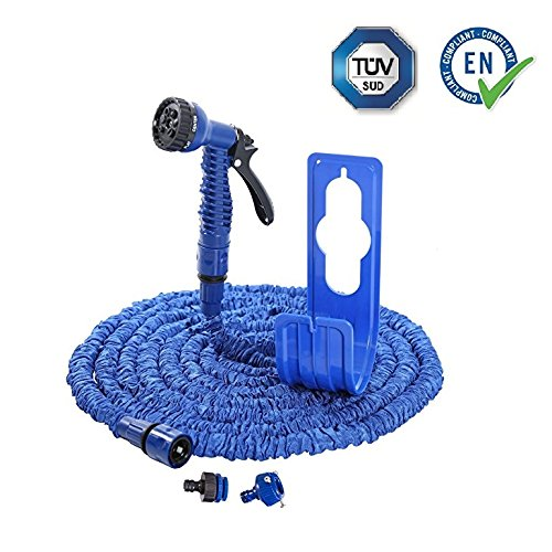 Flexibler Gartenschlauch blau 30m mit Schlauchhalter Wasserschlauch Magic Hose dehnbarer Zauberschlauch (30m)