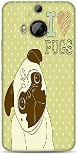 Snoogg I Love Pugs Cute Little Pug On Polka Dot Background Designer Protective Back Case Cover For HTC M9 Plus