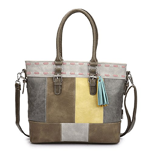 Farbenfrohe Damen-Handtasche Umhängetasche Shopper aus hochwertigem PU Leder in Patchwork-Design Mulitcolor (Grau/Gelb/Braun) (Patchwork-shopper)