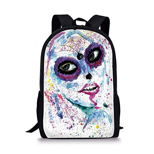 School Bags Girls,Grunge Halloween Lady with Sugar Skull Make Up Creepy Dead Face Gothic Woman Artsy,Blue Purple for Boys&Girls Mens Sport Daypack -