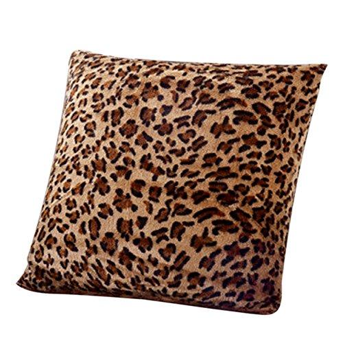 Ruikey Sofa de Felpa Suave Inicio Decoracion Tiro Fundas de Cojines Cuadrado Patron de Leopardo Fundas de Almohada Casos Decoracion Regalo 43 x 43 cm (Leopardo)